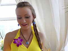 Cute chick with braid Lili Lamour sucks a dildo like a real cock