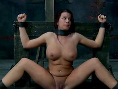 Big titted brune Sarah Blake gets fucked by metal pipe wrench