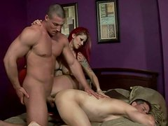 Bisexual - Busty red head whore drills two bisexuals with strapon