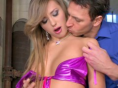 Classy blonde sweetie Jessika Lux lets her man eat her butt