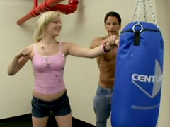 Playful bitch Ally Ann trains in a boxing club and then gets fucked by the coach