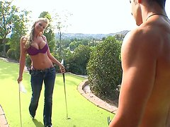 Busty slut Phoenix Marie gives a head on a golf loan