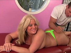 Lee Stone massages Julie Cash's huge phat booty with his tongue