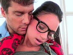 Slutty nerd in glasses gets her tight pussy fucked doggy