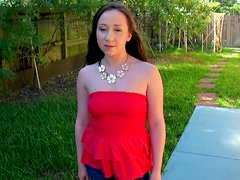 Cute brunette Bianca Sage agrees to show her horny dark side