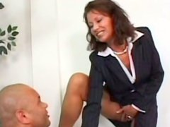 Strict directress Vanessa Videl makes employee lick her pussy