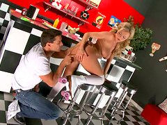 Cute waitress Bree Olson on roller skates gets her butt fucked