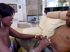 Fat-bottomed ebony chick blows cock and gets dirty fucked