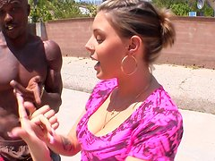 Curvy fattie Nella Jay plays basketball with her black partner