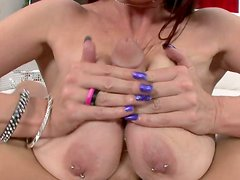 Gorgeous full figured bitch Tiffany Mynx gives titjob and does anal