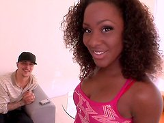 Ebony girl wags her big bubbled oiled ass