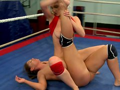 Nude Valentina Chevallier & Orsay fight in the ring for a dick