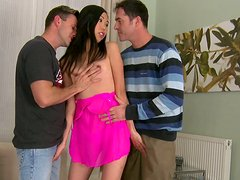 Double penetration for exotic picked up slut James Brossman