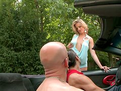 Dirty sexy hooker Laraan pleases two cocks near the car