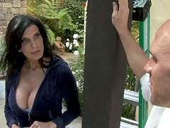 Busty brunette Shay Sights outdoor pounding