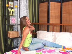 Delicious blonde teen Nikki gets naked and masturbates