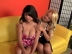 Best friends forever Briana Blair and Layla Rose massage each other and start a hot foreplay