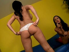 Two killer beauties Amia Miley and Eva Karera get their holes polished by John Strong