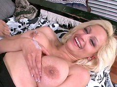 Passionate blonde gal Holly Brooks fucks in her bedroom