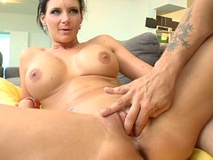 Brunette skank Phoenix Marie rides dick and fucks missionary style for a creampie
