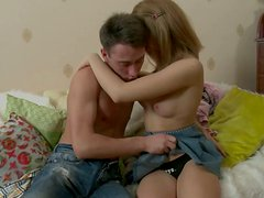Passionate teen Leila sucks Matthew's thick cock and fucks doggystyle