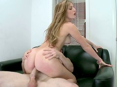 Seductive babe Casana Lei gets poked hard in a doggy position during the casting