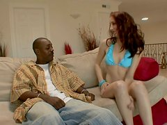 Cute brunette in blue bikini Cadence Calibre sucks a black cock
