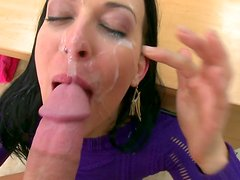 Dirty bitch Violet Marcelle gets fucked hard on a casting and gets her face covered with white sloppy cream
