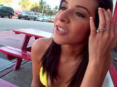 Awesome brunette with cute tits Layla Lopez gets her anus tickled