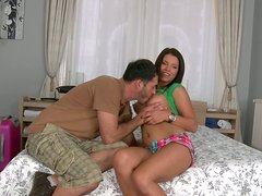 Young and curvy brunette chick gets her muff eaten