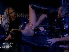 Shameless blonde bitch Jessica Drake gets boned by police officer