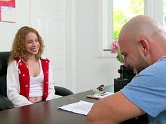 Tiny curly haired cutie having a sexy audition