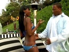 Lustful ebony whore Jezabelle Sweets fucks near the outdoors pool