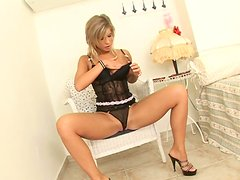 Awesome and cute wanker Tiffany Rousso masturbates on the chair
