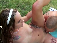 Black head Leyla Black gets fucked mish and from behind at the picnic