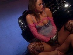 Trashy disco type slut Tori Black gives a head and gets hammered mercilessly in a club