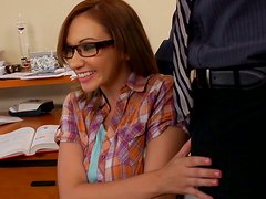 Four eyed brunette Izzy Taylor gives wow pov blowjob