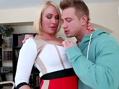 Horny MILF slut Mellanie Monroe seduces a young stud and sucks his cock