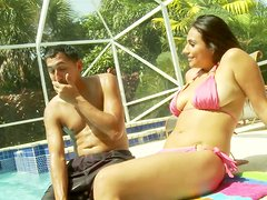 Crummy whore Rikki Nyx joins the dude to sunbath near the outdoors pool