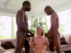 Two black dudes fuck every hole of slutty mature skank Alexandra Silk