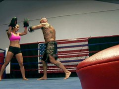 Boxing turns into licking the pussy of horny Adrianna Luna
