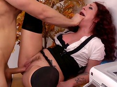 Ardent cock riding performed by curly dirty secretary Andy San Dimas