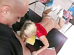 Nasty Student Bree Olson Gets Her Mouth Busy Sucking A Hard Man Lollipop