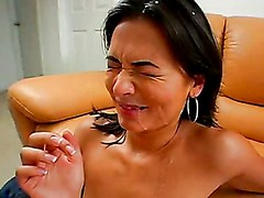 Brunette Babe Crissy Moon Riding A Big Hard Dong And Gets Messy Facial