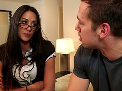 Delectable brunette woman Lyla Storm gets seduced for a blowjob