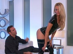 Sweet blonde Jessica Drake in leather outfit gets her holes eaten