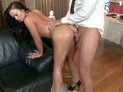 Nasty waitress Mya Luanna gets her ass fucked