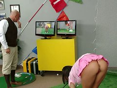 Golf with tremendous chick Angelina Valentine turns into cock sucking