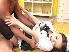 Cute cosplay maid Nao Kojima gives blowjob in 69 pose
