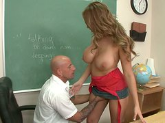 Horny and kinky teacher Alanah Rae seduces facility supervisor at school